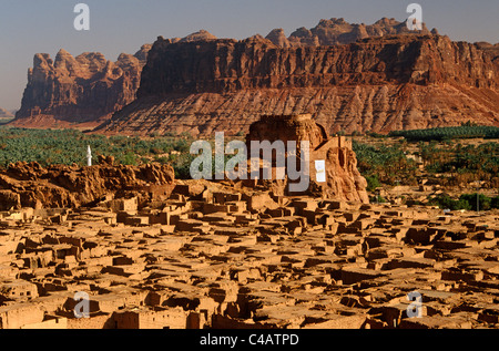 Saudi Arabia, Madinah, Al-Ula. The small yet striking castle of Musa Abdul Nasser rises in the midst of the crumbling - Stock Image