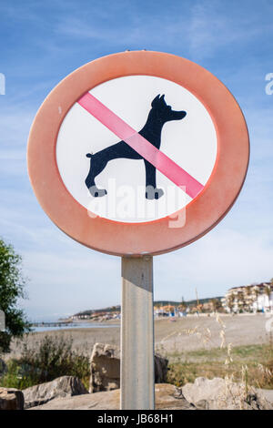 No dogs sign on a beach. - Stock Image