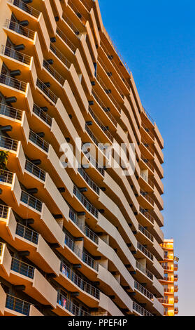Sochi, Russia - March 13, 2018: Civilian high-rise residence and sky. Beautiful building in Sochi, Russia. - Stock Image