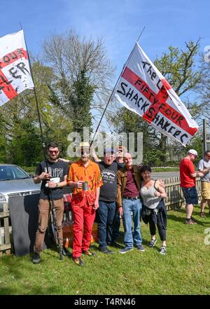 Crawley Sussex, UK. 19th Apr, 2019. The Fifty Four Shack Shakers in the World Marbles Championship held at The Greyhound pub at Tinsley Green near Crawley in Sussex . The annual event has been held on Good Friday every year since the 1930s and is open to players from around the world Credit: Simon Dack/Alamy Live News - Stock Image