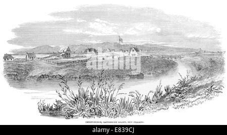 River Avon Christchurch Canterbury colony stockade  South Island New Zealand 1853 - Stock Image