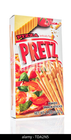 Winneconne, WI - 16 May 2019 : A package of Glico pizza pretz snack sticks on an isolated background - Stock Image
