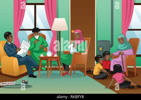 A vector illustration of African Muslim Family at Home - Stock Image