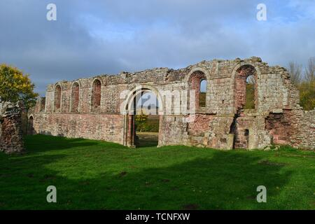 Ruins of the White Lady's Priory, at Boscabel House and the Royal Oak, Brewood, Bishop's Wood, Shropshire, UK - Stock Image