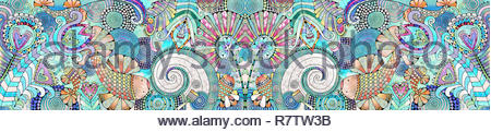 Fish and flowers in intricate symmetrical pattern - Stock Image