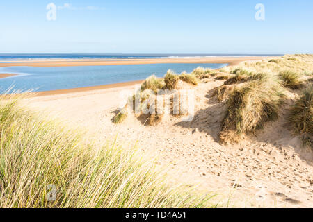 Sand dunes on North Norfolk Path at Holkham Bay, Norfolk, East Anglia, England, United Kingdom, Europe - Stock Image