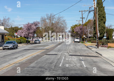 Borregas Avenue seen from Maude Avenue; Sunnyvale, California, USA - Stock Image