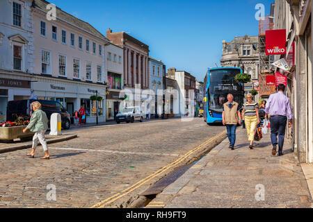 12 June 2018: Truro, Cornwall, UK - Shops in Boscawen Street, Truro - Stock Image