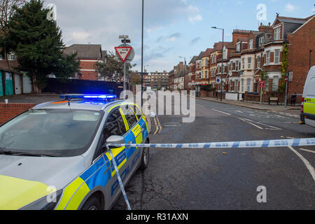 London, United Kingdom. 21 November 2018. Police have cordened off Craven Park in Harlesden after a suspected 'pipe bomb' was found in a vacant house. An Army bomb disposal team is investigating. Credit: Peter Manning/Alamy Live News - Stock Image
