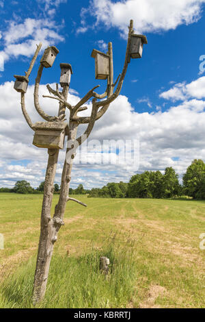 Wooden boxes for birds to nest in them in summer - Stock Image