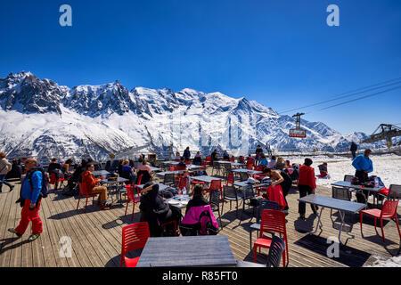 Terrace on the Brevent, Winter sports resort in Chamonix Mont Blanc. Haute-Savoie, European Alps, France - Stock Image
