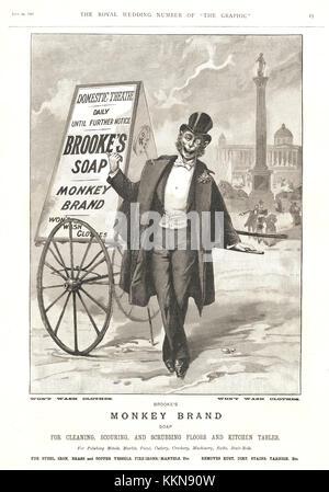 1896 UK Magazine Brooke's Soap Advert - Stock Image