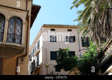 Gebäude in der Calle Estanc, Palma, Mallorca, Spanien, Europa.   Buildings in the Calle Estanc, Palma, Majorca, - Stock Image