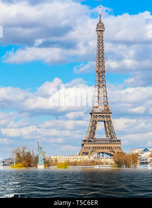 Global warming, melting ice caps, climate change flood concept in Paris, France. - Stock Image
