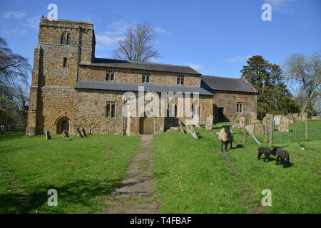 St Peter's Church in the Warwickshire village of Wormleighton - Stock Image