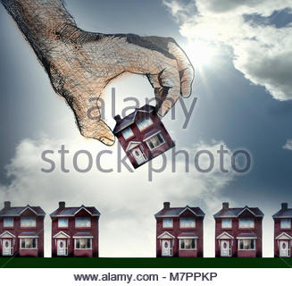 Hand choosing house from row - Stock Image