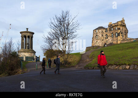 EDINBURGH, SCOTLAND - FEBRUARY 9, 2019 - Calton Hill, east of the New Town, is at the bottom of Princes Street. On the hilltop are several monuments - Stock Image