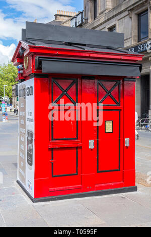 A former Police Box on the corner of Hope Street and Princes Street, Edinburgh, Scotland, UK. - Stock Image