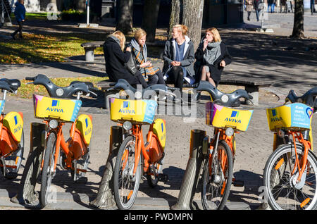 AVIVA bike sharing station, City bicycle rental in Vilnius, Lithuania - Stock Image