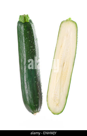 Fresh zucchini on white background. - Stock Image