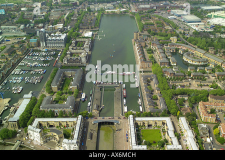 Aerial view of Greenland Dock in the Rotherhithe area of London overlooking the River Thames - Stock Image