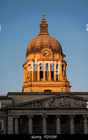 The dome of Nottingham town hall bathed in sunlight. - Stock Image