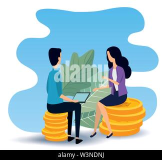 businesswoman and businessman teamwork sitting in the chair - Stock Image