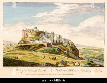 East view of Edinburgh Castle, watercolour painting by Paul Sandby, 1753 - Stock Image