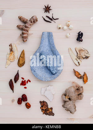 Alternative medicinal dried various Chinese herbs for healthy recipe ginseng ,goji berry ,ginger ,turmeric ,lotus - Stock Image