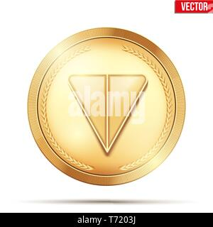 Gold crypto coin with TON sign. - Stock Image
