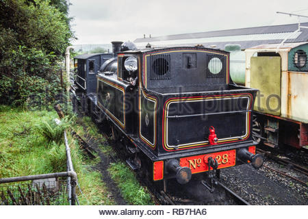 Caerphilly Railway Centre, Harold Wilson Industrial Estate, Caerphilly, Wales, UK  - guards van ride taking place on the running line, with Taff Vale Railway 01 class 0-6-2T steam locomotive and GWR Guards Van – 1980s (1988) - Stock Image