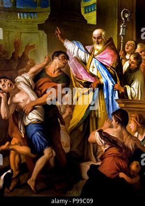 Sant Ubaldo vescovo libera un osesso - Sant Ubaldo bishop frees a dare by Pietro Antonio Rotari ( 1707 – 1762)  Italian painter of the Baroque period. Italy ,Italian. - Stock Image