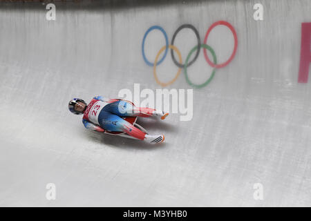 Pyeongchang, South Korea. 13th Feb, 2018. USA's Emily Sweeney in action at the women's luge singles at the - Stock Image