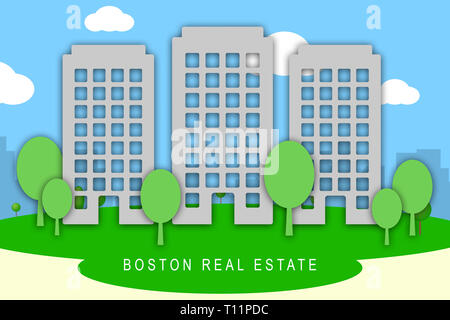 Boston Property Apartments Show Real Estate In Massachusetts Usa. Housing Purchase Or Realty Rental 3d Illustration - Stock Image