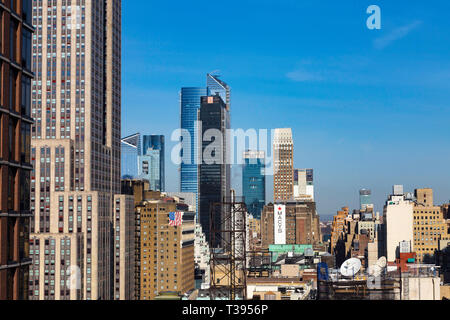 Hudson Yards New Buildings as Seen from the East side of Manhattan, NYC, USA - Stock Image