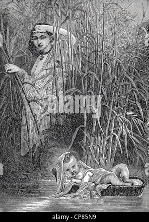 Moses is put in a reed basket on the Nile, historic engraving from 19th Century, Moses wird im Schilfkörbchen - Stock Image