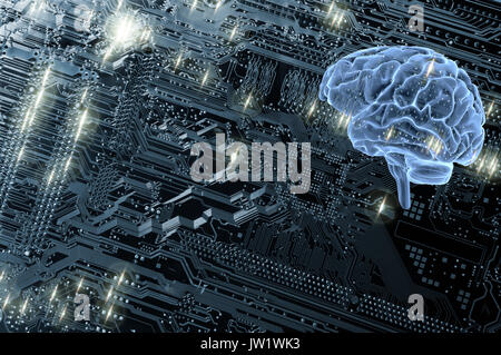 human brain and computers motherboard - Stock Image