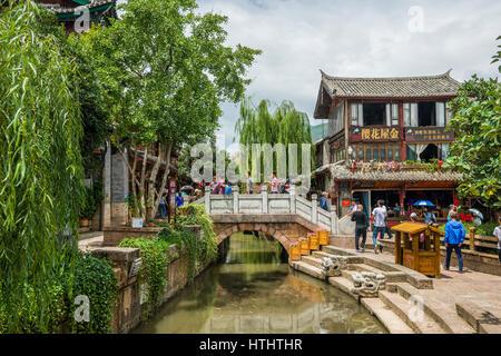 Bridge in Lijiang ancient town, Yunnan, China - Stock Image