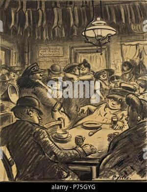In der Kaschemme. Um 1910. Kohle auf leichtem Karton. 32,3 x 26,2 cm . circa 1910 139 Heinrich Zille In der Kaschemme - Stock Image