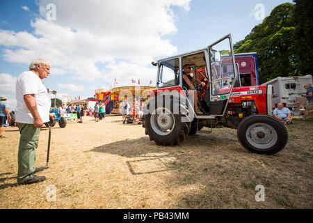 Tractor display at the 2018 Cheshire Steam Fair - Stock Image