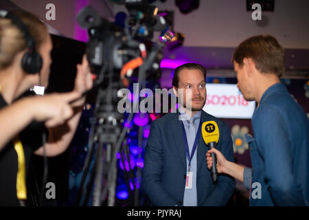 Stockholm, Sweden, September 9, 2018. Swedish General Election 2018.  Election Night Watch Party for Sweden Democrats (SD) in central Stockholm, Sweden. Martin Kinnunen (SD). Credit: Barbro Bergfeldt/Alamy Live News - Stock Image