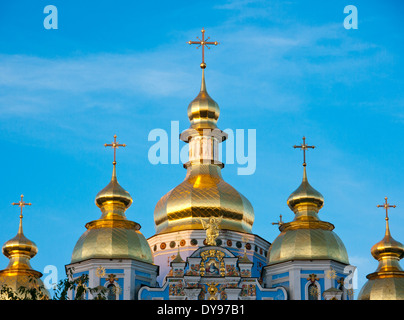 St. Michael's gold-domed cathedral and monastery in Kiev (Kyiv), Ukraine - Stock Image