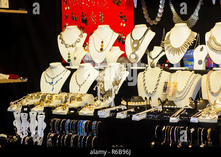 30 November 2018A display of necklaces and bracelets at the Belfast Christmas Fair Belfast in the grounds of the Belfast City Hall Northern Ireland. T - Stock Image