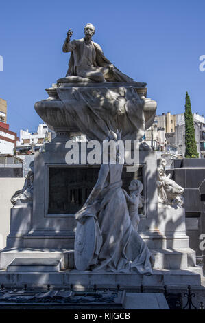 Stunning stone and marble artwork on tombs in La Recoleta Cemetery in Buenos Aires, Argentina, South America - Stock Image