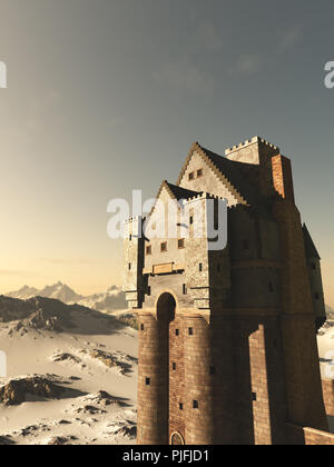 Medieval Tower House Castle in Snowy Mountains - Stock Image