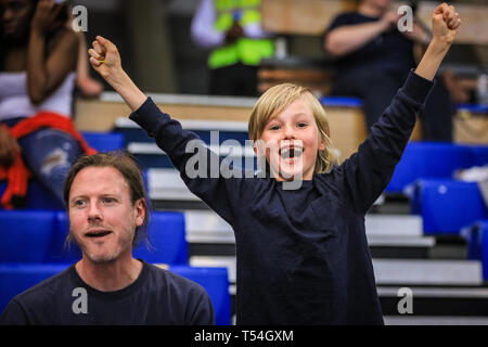 London, UK, 20th April 2019. A young basketball fan cries out in joy after a point. Tensions run high in the London City Royals v Glasgow Rocks BBL Championship game at Crystal Palace Sports Centre. Home team LCR win the tight game 78-70. Credit: Imageplotter/Alamy Live News - Stock Image