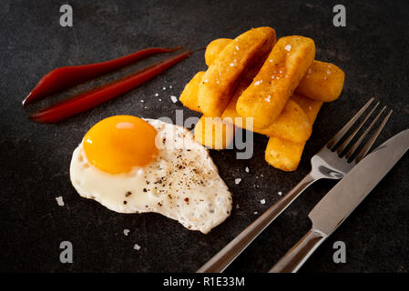 Fried Egg and Chips - Stock Image