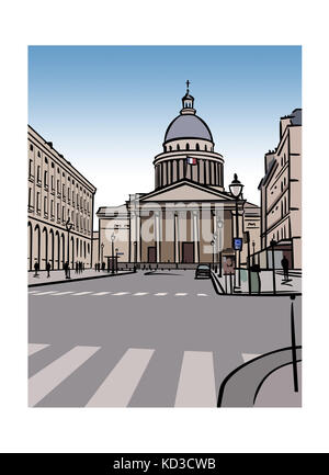 Illustration of the Pantheon in Paris, France - Stock Image