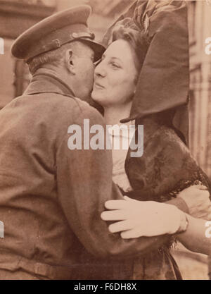 702. Lieutenant General Jacob l. Devers. Sixth US Army Group kisses a French Alsatian woman The Liberation Ceremony - Stock Image