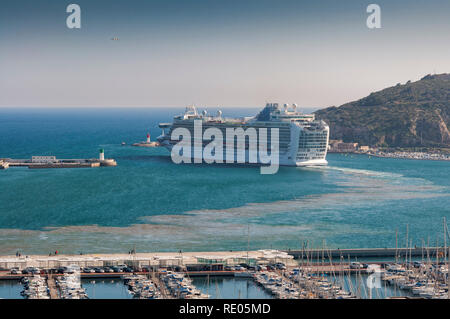 Cruise leaving the port of Cartagena, in the province of Murcia, Spain, on April 12, 2017 - Stock Image